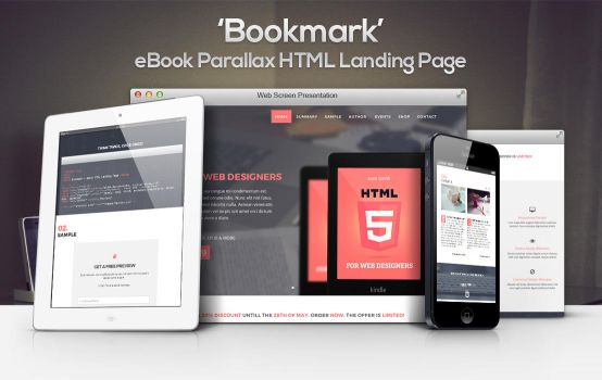 Bookmark - eBook Parallax HTML Landing Page by gothic-crimson