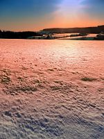 Snow, fields and a winter sunset by patrickjobst