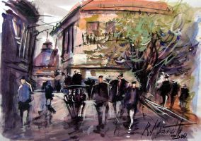 Paris Afternoon in watercolour by ricardomassucatto