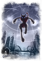 Mega Mewtwo X over the night sky by elyoncat