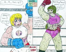 Boxing Power Girl vs Warmonga by Jose-Ramiro