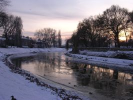 Winter in Gyor - sunset by Ketike