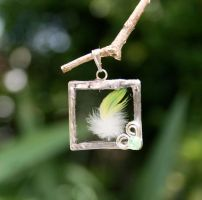 Lemondown Feather Pendant by mermaidencreations