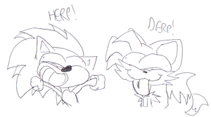 Sonic and Tails Doodle LOL by Blackbirdo29