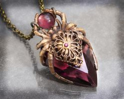 Amethyst Crystal Spider Necklace by byrdldy