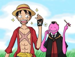 Luffy And Koro Sensei Friends by Erk-kun