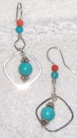 Turquoise and coral earrings by artefaccio