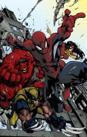 Avenging Spiderman Red by LloydBridgemanInk