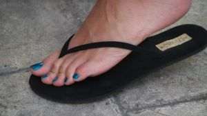 Karin's Long Toes in Black Flip Flops 1 by Feetatjoes