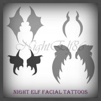 Night Elf Facial Tattoos PS Brushes Pack by NightElf86