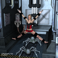elenawhor attacked by Spider-bots by LithographicDan