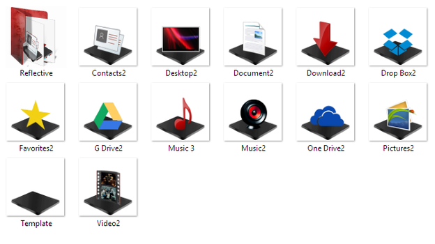 Black and red windows library folders 2 by wallybescotty