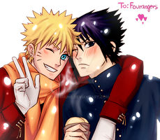NaruSasu Winter. by Mishune