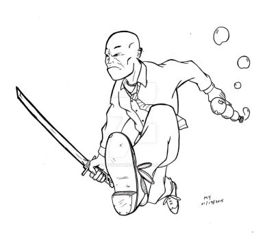 Bubble Gun Man with Samurai Sword by TheYuanTwins