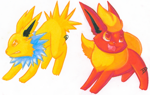 Jolteon Flareon by Christmaslolly