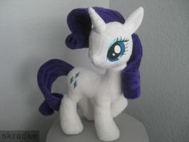 Rarity custom plush - using new pony body pattern by GreenTeaCreations