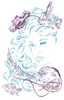 Illustration - Line triptych - Aquarium Daydream by TheLipGlossary