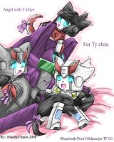 Angel with three kittyformers by BloodyChaser