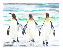 Penguins On A Beach (painting) by eyeqandy