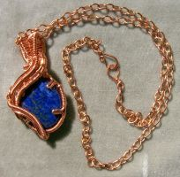 Lapis Lazuli and Copper Wire-Wrapped Pendant by HeatherJordanJewelry