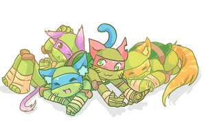 Kitty Turtles by Tenshilove