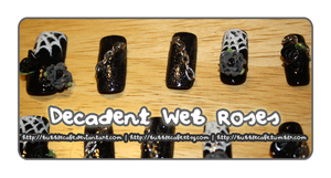 Decadent Web Rose Nails by BubbleCafe