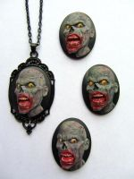 Hand Painted Blood Thirsty Zombie Cameo Necklace by PaintIt13lack