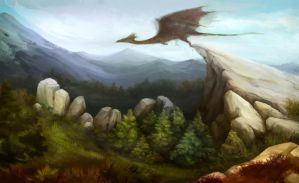 LandScape with DragonChick by MirraGray