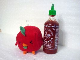 Hot Rooster Sauce Sriracha Plush by Jonisey