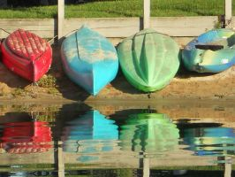 Red, Green, Blue Kayaks by 10000Greetings