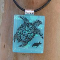 Tribal Sea Turtle Glass by FusedElegance