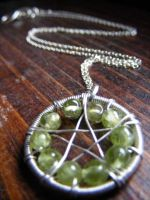 Peridot Wirewrapped Pentacle by MoonLitCreations
