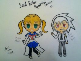 200th Deviation: Maka and Soul Spartoi Chibis! :D by Artistic-Resonance