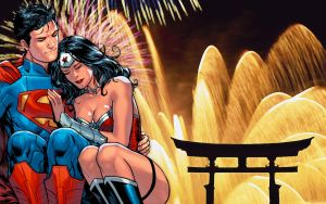 Superman/Wonder Woman Fireworks by Xionice
