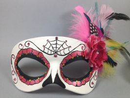 Custom Pink Day of the Dead Masquerade Mask by maskedzone
