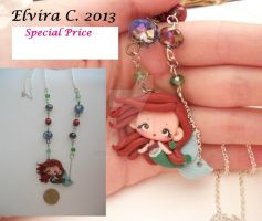 Ariel polymer clay necklace by elvira-creations