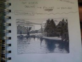 Landscape Thumbnail Sketch by littlewaysoul