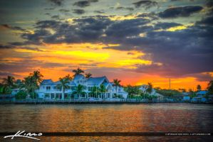 Waterfront-Property-Sunset-at-Waterway-Palm-Beach- by CaptainKimo