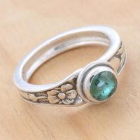 Spoon Ring with Green Tourmaline by metalsmitten