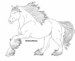 FREE Clydesdale Mare Lineart!!! by BastionBases