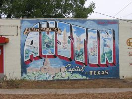 'Greetings from Austin' postcard mural by HumbleQuietOne