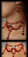 Elegant Red Pearl Necklace by FxSolya