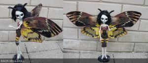 Monster high custom deaths head hawk moth ooak by Rach-Hells-Dollhaus