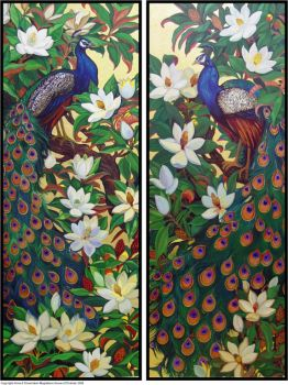 Peacocks and Magnolia Blossoms by HouseofChabrier