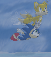 Swimming Sonic and Tails by ChibiBeckyG