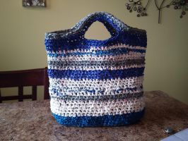Upcycled Crocheted Plastic Bag 2 (Blue) by PiixXxiiE