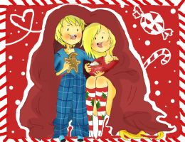 .::Finn and Fionna's Cozy Christmas Cuddle Time::. by DreamaMoonlight