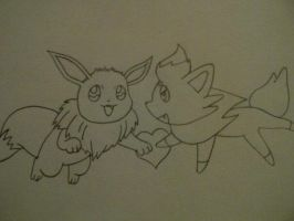 Pokemon Zorua and Eevee by AnimeChibiest