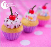 Sweet cupcake with red cherry Necklace by CuteMoonbunny