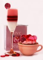 Love and Peace Cupcake w/ Jello in Champagne Glass by theresahelmer